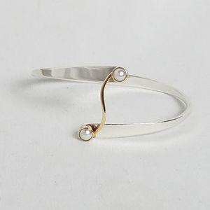 Ed Levin 14k sterling pearl Grand Swing Bracelet